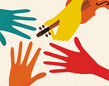 Illustration of hands reaching towards a violin, Music tile